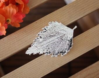 Leaf Brooch Silver Birch, Birch Leaf Pin, Real Leaf, Silver Leaf, Orangic pin, Nature, BROOCH90