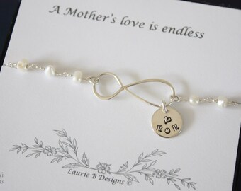 Sterling Silver Infinity Bracelet Pearl , Mom Jewelry, Sterling Silver, Mother Bracelet, Grandma, Infinite Love, Mum, THank you Card