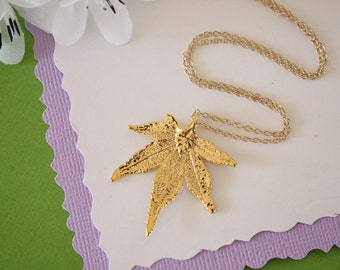 Gold Japanese Maple Leaf Necklace, Real Silver Leaf, Real Maple Leaf Necklace, Maple Leaf, Gold Filled, LC104