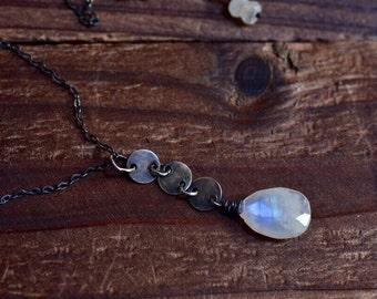 Rainbow Moonstone Drop Necklace - Oxidized Sterling Silver Sequin Disc Necklace - Simple Teardrop Necklace - Rustic Dark Silver Y Necklace