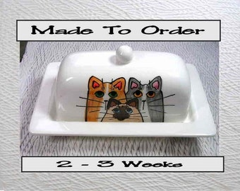 Cat Trio On Ceramic Butter Dish Handpainted Original by Grace M Smith