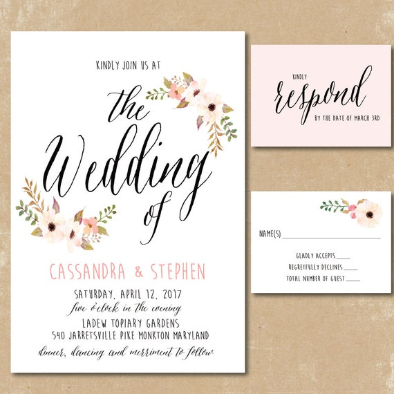 Printable floral invitations watercolor wedding invitation for Floral wedding invitations canada