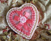Vintage Heart Shaped Candy Box Valentine's Day Chocolate Box Coral Pink with Netting and Lace