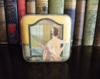 Antique 1920s Powder Tin with Athletic Flapper Girls Skiing Golf Beach