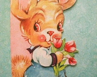 Vintage Easter Card with Bunny Holding Tulips