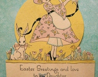 Vintage Easter Card 1920's Girl Dancing Around Bunny Rabbit