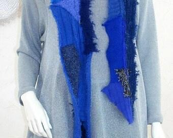 Patchwork Knit Scarf/Upcycled Eco Chic Scarf/Long Narrow/Boro Knit Scarf/Blue, Black Grey/brenda abdullah