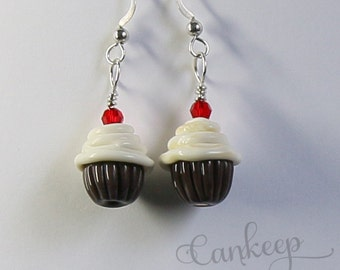 Chocolate Cupcake Earrings ~handmade glass Bead Lampwork  by Lezlie/cankeep