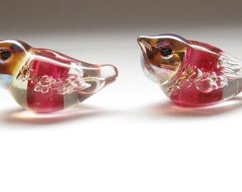2 bubble birds matched earring pair artisan lampwork glass beads teal green transparent