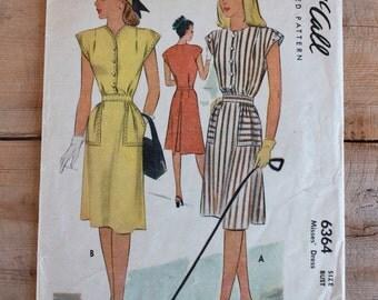 "1940s Sewing Pattern / 1940s Dress Pattern / McCall 6364 / Bust 32"" Waist 26.5"""