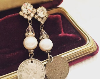 Vintage Assemblage Sixpence Earrings