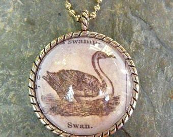 Swan - vintage dictionary illustration pendant necklace
