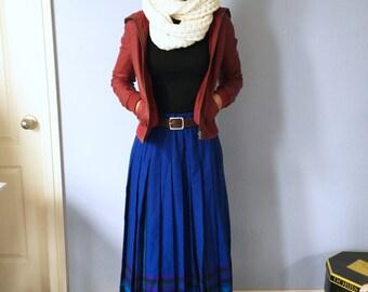 Vintage Pendleton Skirt - Long Plaid Pleated Cobalt Blue - 28 in Waist
