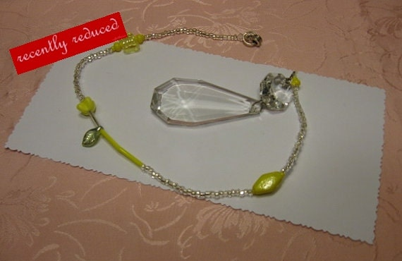 On Sale..  Recently reduced Vintage Yellow Czechoslovakian Glass Tulip,Beaded Crystal Sun Catcher