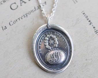 star wax seal necklace ... IN TENEBRIS LUCIDIOR - brighter in the darkness - silver Latin motto armorial wax seal jewelry