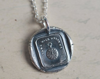 pocket watch wax seal necklace ... time will unite us - bon voyage keepsake gift -  clock pendant - silver wax seal jewelry
