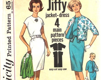 UNCUT 1960's Jiffy Dress and Jacket Easy Cut Easy Sew Bust 38 Size 18 Simplicity 4897