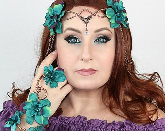 Flower Crown in Copper and Teal, Floral Crown, Headpiece, Wedding Headpiece, Wedding Accessory, LOTR, Cosplay, Fairy, Renaissance, Costume