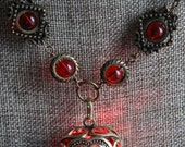 Neo Victorian Jewelry - Necklace - Red Heart locket with glowing orb Antique Bronze