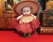 Antique German Tiny Bisque Miniature Girl Toddler Doll with Crocheted Hat and Dress