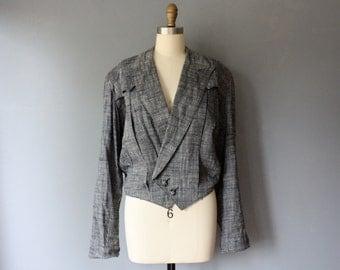 vintage 90s jacket / grey double breasted bolero jacket / military style jacket / large