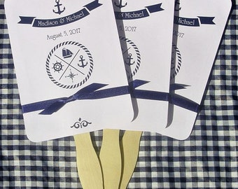 Nautical Wedding Fan | Nautical Wedding |  Wedding Fans | Beach Wedding Fans | Nautical Favor Fans | Nautical Wedding Favors |
