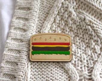 SALE! Burger Brooch, Fast Food Badge, Laser Cut, Hand Painted, Made in Brighton UK
