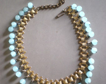 Vintage Goldtone Necklace with Blue Glass Drop Beads and Chain Closure