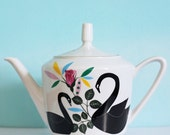 SUMMER SALE! Swans and roses medium sized vintage illustrated teapot