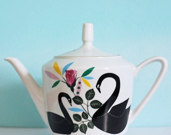 Swans and roses medium sized vintage illustrated teapot