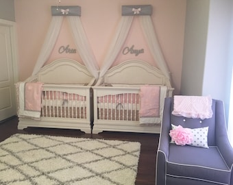 TWINS Bed Canopies Matching Sisters FrEe CuRtAiNs Gray White pink and CuRtAiN upholstered TWO Bow TwIn Bedroom Nursery So Zoey Boutique SaLe