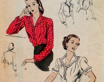 Vintage 1940s Ruffle Blouse Pattern Vogue 5110 Bust 34 Wartime Pattern V Neck Blouse Rockabilly