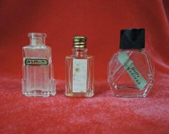 3 Vintage Miniature Perfume Bottles Jasmine, Fame by Corday, Graff's Charivar, 1930s 1940s Art Deco Bottles