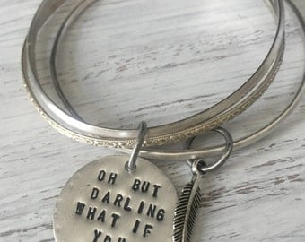 Personalized Quote Bangle Charm Inspirational Oh But What If You Fly Bracelet