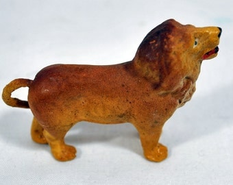 Antique Vintage Germany Lion - Composition Zoo Figure - Composition Cat