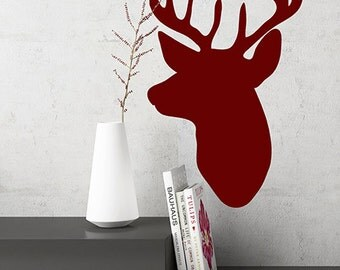 Deer Head Decal, Rustic Christmas Decor, Rustic Wall Decor, Deer Decals, Rustic Home Decor, Deer Vinyl Decal, Deer Sticker, Rustic Wedding