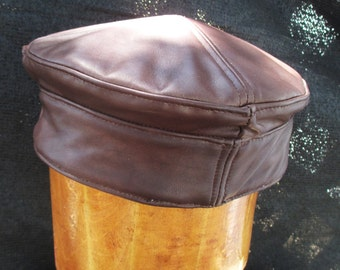 Leather Kufi Hat in Brown Lambskin, Large Size