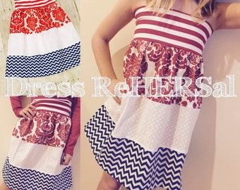 Red white and blue july 4th dress top skirt
