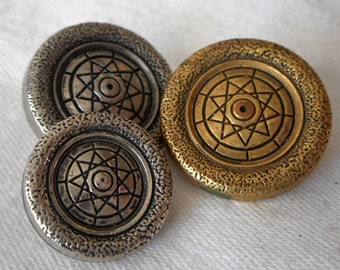 Set of 3 VINTAGE Metalized Plastic Star BUTTONS