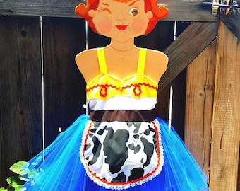 Jessie Toy Story dress, JESSIE dress with TUTU , western dress, cowgirl costume, Toy Story dress, girls dress Toy Story birthday party