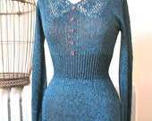 RESERVED FOR JENNIFERK Wenjilli | Shimmering Nights | Vintage 1970's Midnight Blue Lurex Knit Dress with Crochet Open Work