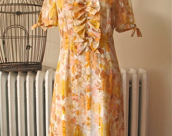 Autumn Floral | Vintage 1960's Dress Sheer Stripe with Amber Flower Print - Ruffle Front with Buttons