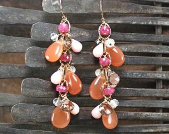 Peach Moonstone, AAA Pink Sapphire, Pink Opal, Smokey Quartz, Rainbow Moonstone dangle earrings, 14k gold filled hook ... SUMA Earrings