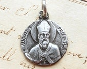 St Augustine / Augustin Medal - Patron of students, beer lovers - Antique Reproduction