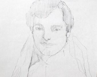 pencil drawing original / portrait drawing / 1950s bride original drawing
