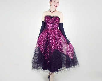 50s Magenta Pink & Black Lace and Tulle Strapless Sweetheart Party Dress S