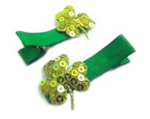 Shamrock Hair Clips Green Hair Clips Sequin Hair Clips St Patricks Day St Paddys Day St Pattys Day Green Bows Baby Hair Clips Baby Bows