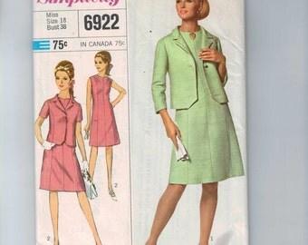 1960s Vintage Sewing Pattern Simplicity 6922 Misses One Piece Dress and Jacket Suit Size 18 Bust 38 60s UNCUT  99