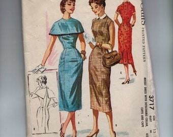 1950s Vintage Sewing Pattern McCalls 3717 Misses Slim Dress with Detachable Collar Cuffs and Cape Size 12 Bust 30 50s 1956