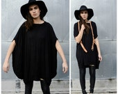 Babooshka Discoid Dress - Fall Longline Goth Tunic Modern Poncho Black Witchy Tunic Shirt Asymmetric Cape T-Shirt Knit Premium Knit Jersey